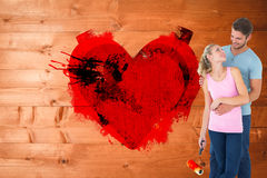 Составное изображение молодой картины пар с роликом Стоковое Изображение RF