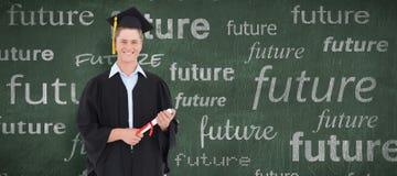 Составное изображение мужского студент-выпускника с его степенью в руке Стоковые Фотографии RF