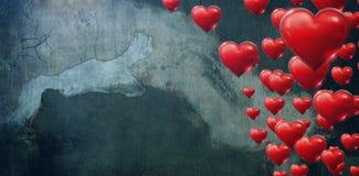 Составное изображение нескольких сердце на белой предпосылке Стоковое Изображение