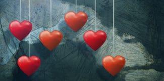 Составное изображение нескольк красного и розового сердца Стоковое фото RF