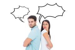Составное изображение несчастных пар не говоря друг к другу Стоковые Изображения