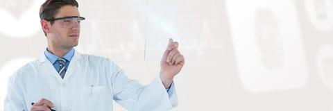 Составное изображение доктора претендуя использовать футуристическую цифровую таблетку Стоковая Фотография