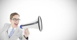 Составное изображение отвратительного бизнесмена крича через мегафон Стоковые Изображения RF