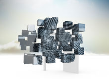 Составное изображение отпечатка пальцев на абстрактном экране Стоковые Фото