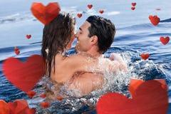Составное изображение одина другого пар прижимаясь Стоковые Изображения