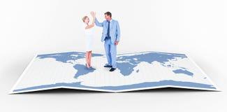 Составное изображение одина другого приветствию бизнесмена и коммерсантки Стоковые Фото