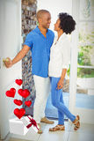 Составное изображение пар и сердец летая от коробки 3d Стоковые Изображения RF