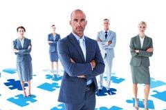 Составное изображение пересеченной руки коллег бизнесмена Стоковые Изображения RF