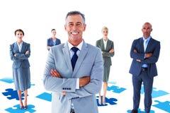 Составное изображение пересеченной руки коллег бизнесмена Стоковая Фотография RF