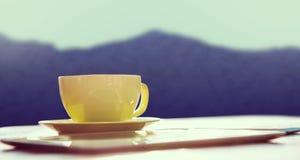 Составное изображение ПК чашки кофе и таблетки Стоковое Изображение RF