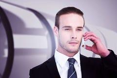 Составное изображение портрета бизнесмена на телефоне Стоковые Фотографии RF