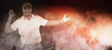 Составное изображение портрета игрока гольфа держа гольф-клуб Стоковое Фото