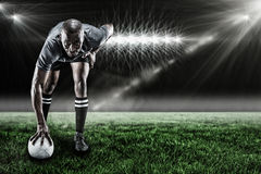 Составное изображение портрета игрока усмехаясь 3d рэгби Стоковые Фотографии RF