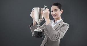 Составное изображение портрета коммерсантки держа чашку Стоковые Изображения