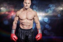 Составное изображение портрета облыселого человека с перчатками бокса Стоковая Фотография