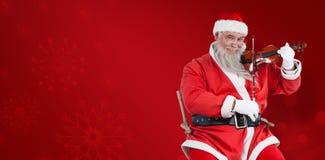 Составное изображение портрета Санта Клауса играя скрипку Стоковое Изображение