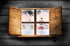 Составное изображение поставки santa представляет к деревне Стоковые Изображения