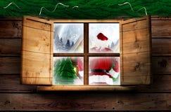 Составное изображение поставки santa представляет к деревне Стоковые Фотографии RF