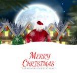 Составное изображение поставки santa представляет к деревне Стоковая Фотография RF