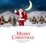 Составное изображение поставки santa представляет к деревне Стоковые Изображения RF