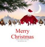 Составное изображение поставки santa представляет к деревне Стоковая Фотография