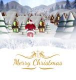 Составное изображение поставки santa представляет к деревне Стоковое фото RF