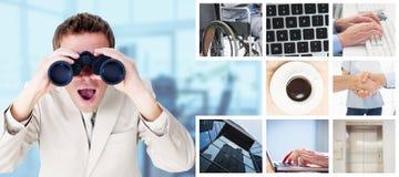 Составное изображение положительного бизнесмена используя бинокли стоковые изображения rf