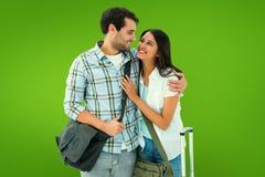 Составное изображение привлекательных молодых пар идя на их праздники стоковая фотография