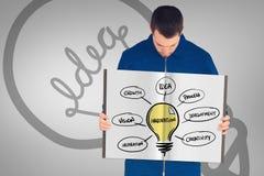 Составное изображение работника физического труда показывая книгу Стоковые Изображения RF