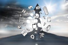 Составное изображение различных doodles образа жизни Стоковые Фото