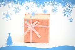 Составное изображение рамки хлопь снега в сини Стоковая Фотография