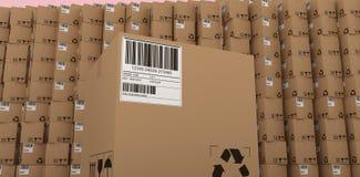 Составное изображение рециркулирует значок и штрихкод на упакованной картонной коробке Стоковая Фотография