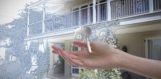 Составное изображение руки женщины используя незримый экран стоковое изображение rf