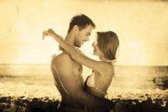 Составное изображение сексуальный обнимать пар Стоковое фото RF
