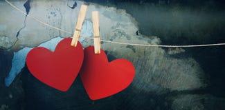 Составное изображение сердец вися на линии Стоковое Изображение RF