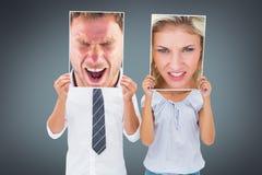 Составное изображение сердитого человека крича к камере Стоковые Фотографии RF