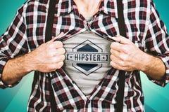 Составное изображение смешного белокурого битника принимая его рубашку стоковые фото