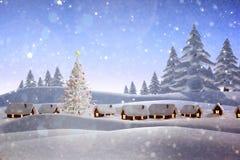 Составное изображение снега покрыло деревню Стоковое фото RF