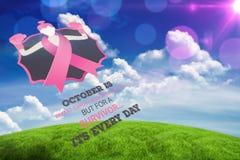 Составное изображение сообщения осведомленности рака молочной железы Стоковое Изображение