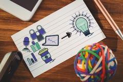 Составное изображение составного изображения значков компьютера указывая к электрической лампочке Стоковое Изображение