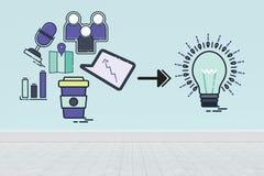 Составное изображение составного изображения значков компьютера указывая к электрической лампочке иллюстрация вектора