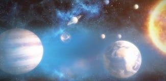 Составное изображение солнечной системы против белой предпосылки 3d Стоковое Изображение RF