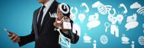 Составное изображение среднего раздела бизнесмена используя телефон пока касающся незримому интерфейсу Стоковые Фотографии RF