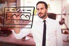 Составное изображение сфокусированного сочинительства бизнесмена с отметкой Стоковые Фото