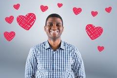 Составное изображение счастливого бизнесмена усмехаясь на камере Стоковые Фото