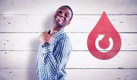 Составное изображение счастливого бизнесмена усмехаясь на камере Стоковые Изображения