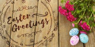 Составное изображение счастливого логотипа пасхи красного против белой предпосылки Стоковые Фото