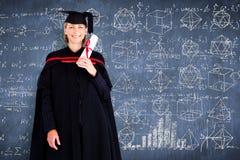 Составное изображение счастливого привлекательного студент-выпускника Стоковые Фотографии RF