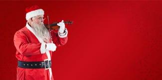Составное изображение счастливого Санта Клауса играя скрипку Стоковое Изображение RF