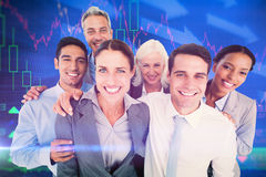 Составное изображение счастливых бизнесменов смотря камеру Стоковое фото RF